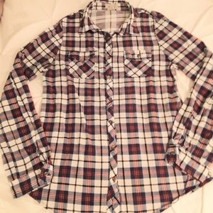 Womens Red blue and white plaid button up shirt